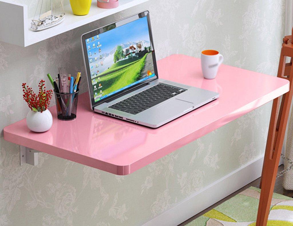 WSSFソリッドウッド折りたたみダイニングテーブルウォールマウントダブルサポートコンピュータワーキングデスク(カラー:ピンク、サイズオプション) (サイズ さいず : 100*40cm) B07CDW3V3B100*40cm