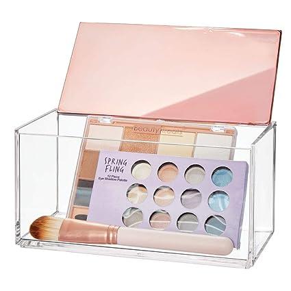mDesign Caja de Maquillaje Grande con Tapa – Organizador de cosméticos para baño y tocador – Cajas de plástico Transparente para organizar Maquillaje, ...