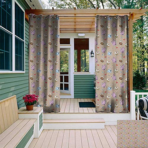 leinuoyi Tea Party, Outdoor Curtain Grommet, Coffee Bean Kettles and Cupcakes with Heart Frosting on Polka Dotted Background, for Patio W108 x L108 Inch Multicolor