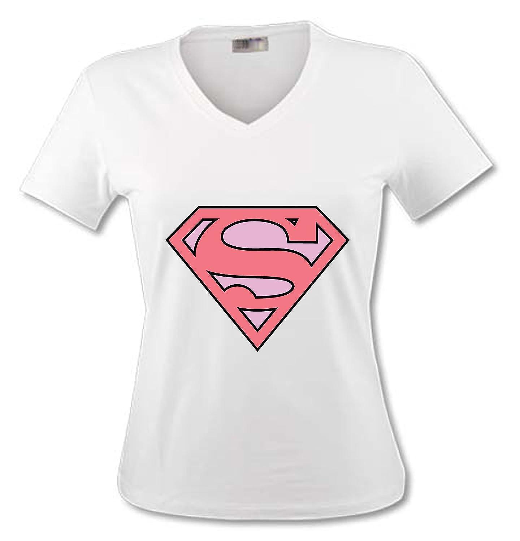 T-Shirt Col V Adulte yonacrea Superman Rose
