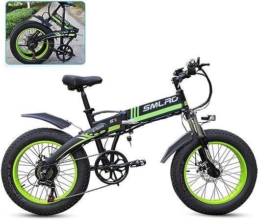 YXYBABA 20 Pulgadas Neumático Gordo Bicicleta Eléctrica 350W 48V Nieve E- Bici Shimano 7 Velocidades Beach Cruiser Hombre Mujeres Montaña E-Bike Pedal Assist,Verde: Amazon.es: Hogar