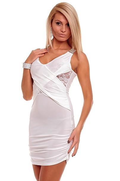 Sexy Fiesta Mini vestido Ibiza Style con punta y brillantes color blanco de plata blanco 38