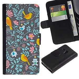 All Phone Most Case / Oferta Especial Cáscara Funda de cuero Monedero Cubierta de proteccion Caso / Wallet Case for Samsung Galaxy S3 MINI 8190 // Floral Wallpaper Pattern Teal Pink