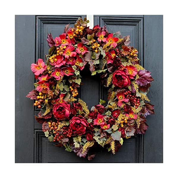 Darby Creek Trading Burgundy English Rose, Autumn Wildflower with Mauve Grapevine & Wheat Fall Front Door Wreath