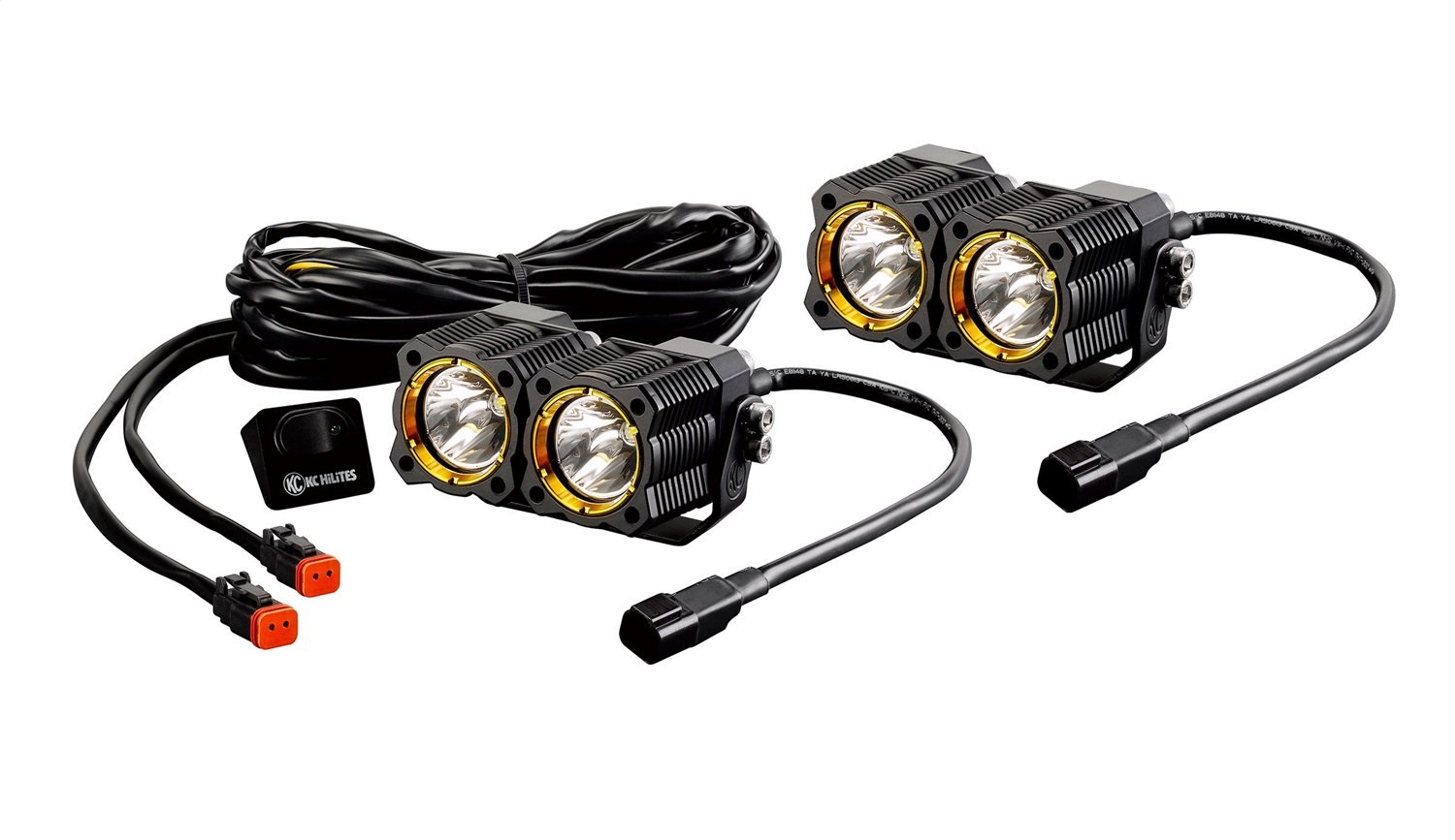 KC HiLiTES 270 FLEX LED Single Spot Lighting System -Pair (Includes Switch and Wiring Harness with Waterproof Connectors)