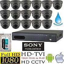USG HD-TVI 16 Camera 1080P CCTV Kit: 16x TVI 1080P 2MP 2.8-12mm Vari-Focal Lens Dome Cameras + 1x 16 Channel Full 1080P HD-TVI 1080P DVR + 1x 3TB HDD *** High Definition Video Surveillance For Your Home or Business
