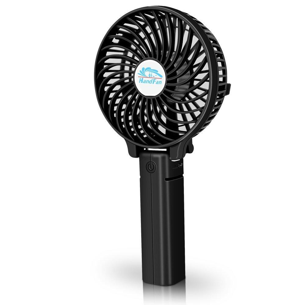 Wsobue Mini Ventilador de Mano,Ventilador de Escritorio Silencioso Ventilador USB Port/átil con 1500mAh Bater/ía Recargable para Viajes Hogar y Oficina Negro