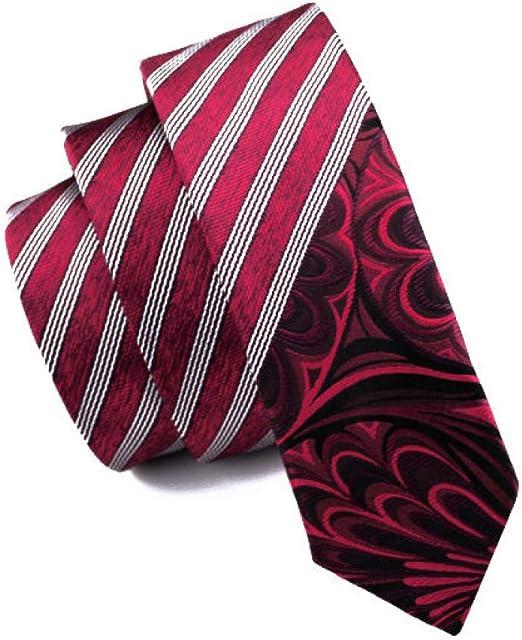 Red Men Skinny Tie Silk Slim Necktie Narrow Tie for Men Wedding Party Business