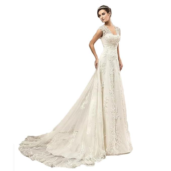 YoYodress El cordón del vintage Appliques los vestidos de boda del país Corset detrás los vestidos