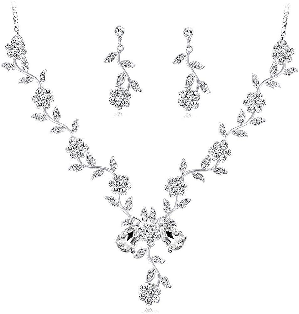 YAZILIND Boda Nupcial cz joyería Conjunto Flor Hoja de Diamantes de imitación Colgante Collar de Novia Gota cuelgan Pendientes
