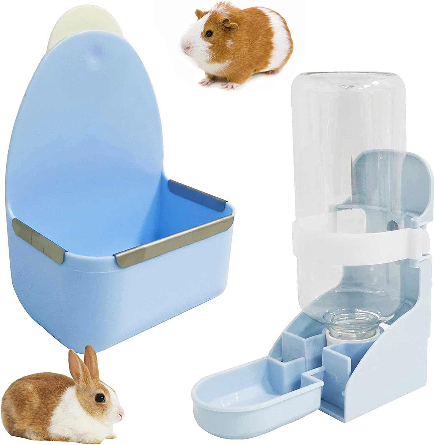 kathson Rabbit Food Bowl and Water Bottle Hanging Water Automatic Dispenser Small Animal Hay Dish Plastic Cage Feeder for Bunny Guinea Pig Chinchilla Hamster Hedgehog Ferret 2PCS (Blue)