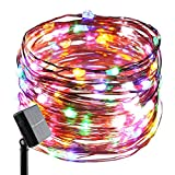ErChen Solar Powered Copper Wire Led String Lights, 33FT 100 Leds Waterproof 8 modes Decorative Fairy Lights for Outdoor Christmas Garden Patio yard (multicolor)