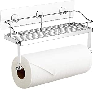 Adhesive Paper Towel Holder with Shelf Storage, Wall Basket for Kitchen & Bathroom Accessories, SUS 304 Stainless Steel, Rustproof No Drilling
