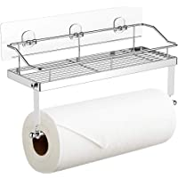 Adhesive Paper Towel Holder with Shelf Storage, Wall Basket for Kitchen & Bathroom Accessories, SUS 304 Stainless Steel…