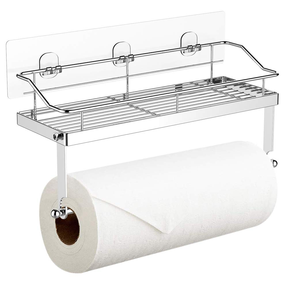 Adhesive Paper Towel Holder with Shelf Storage,Wall Basket ...