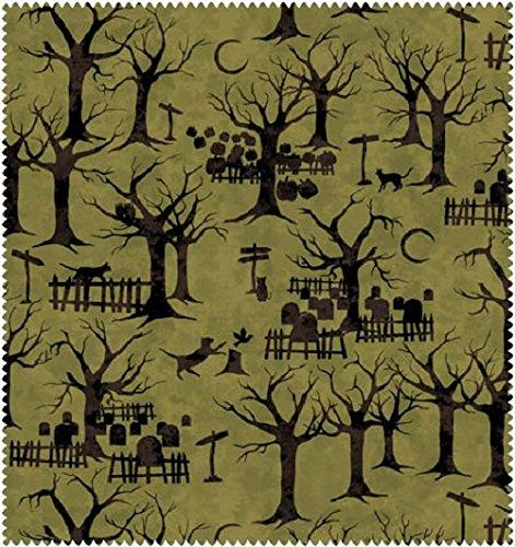 1.5 Yards Black Cat Crossing Halloween Fabric From Maywood Studio 100% Cotton Green MAS9006-G -
