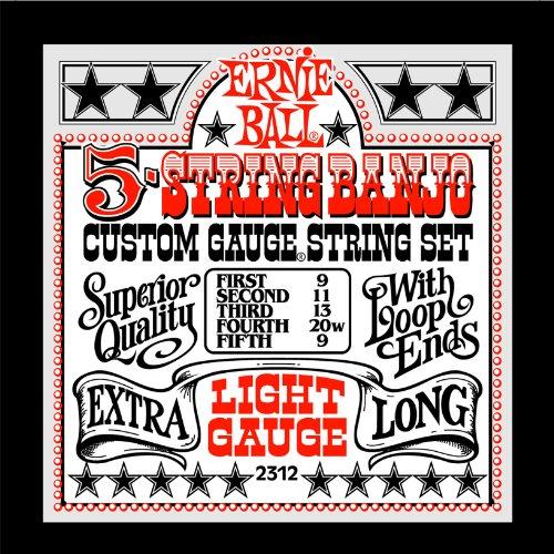 Ernie Ball 5-string Banjo Light Stainless Steel Loop End Set, .009 - - End Loop Light