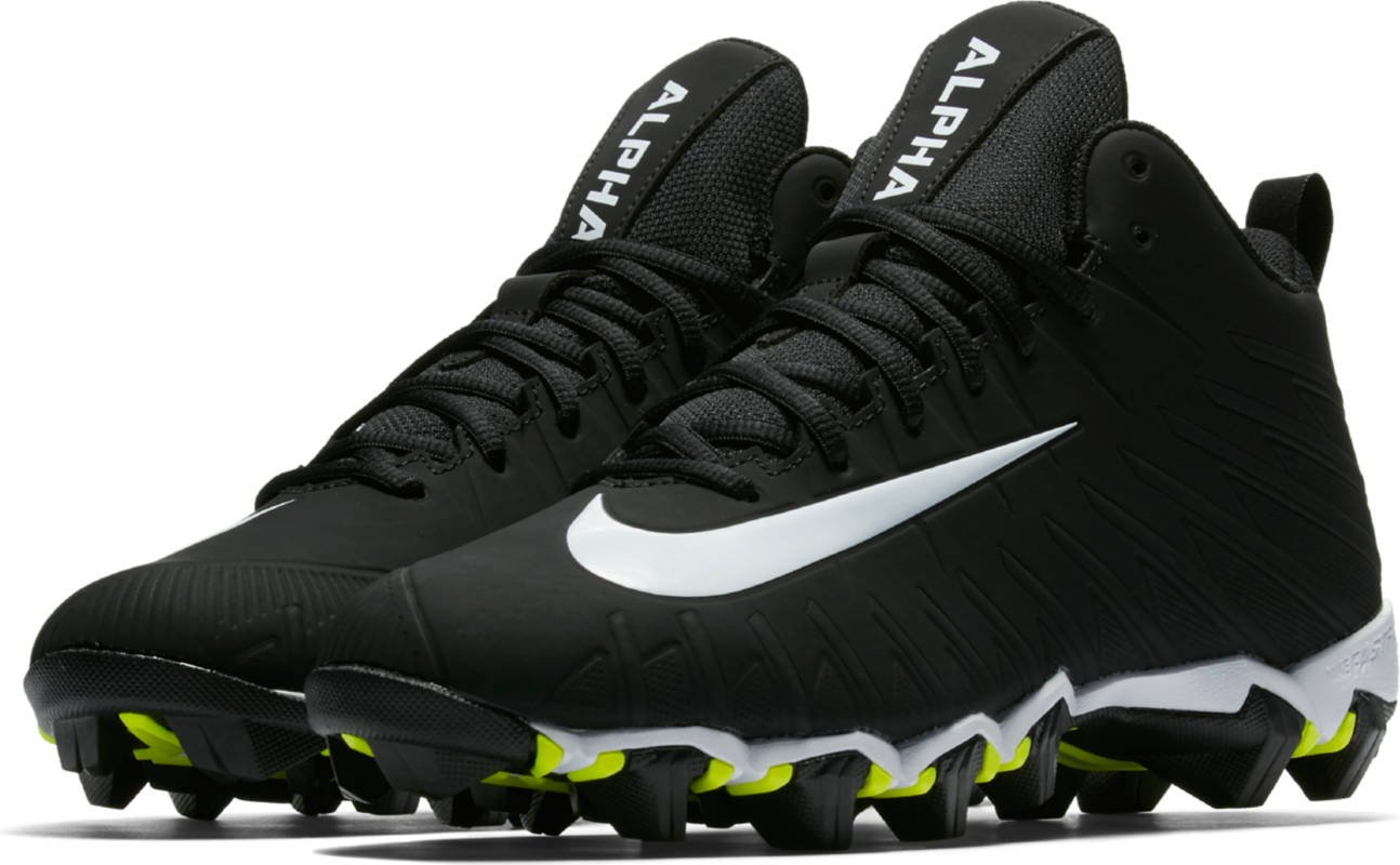 NIKE Men's Alpha Menace Shark Wide Football Cleat, (Black/White, Size 14)