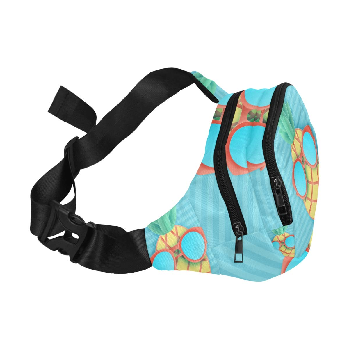 The Sun And Hibiscus Stripes Fenny Packs Waist Bags Adjustable Belt Waterproof Nylon Travel Running Sport Vacation Party For Men Women Boys Girls Kids