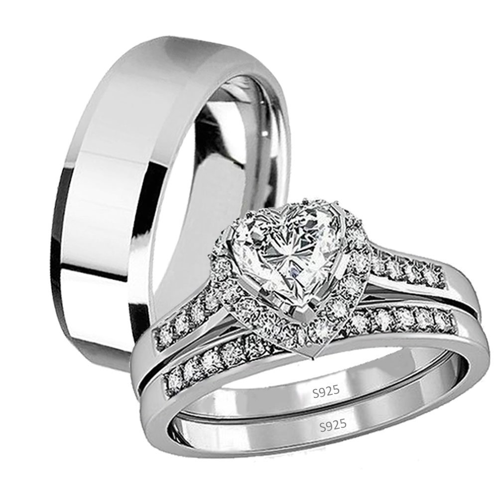 His Hers 3 Pcs Stainless Steel Matching Band Women Heart Cut Sterling Silver Wedding Engagement Ring Set