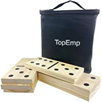 TopEmp Giant Wooden Dominoes Game Set with Carrying Bag, Kids Adults Outdoor Family Fun Yard Games for Backyard Parties