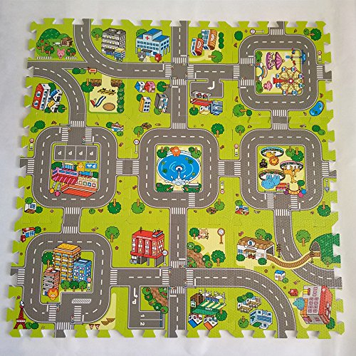EVA Solid foam puzzle mat with city road pattern used for exercise/yoga size:12″X12″ 3/8″Thick 9PCS/bag