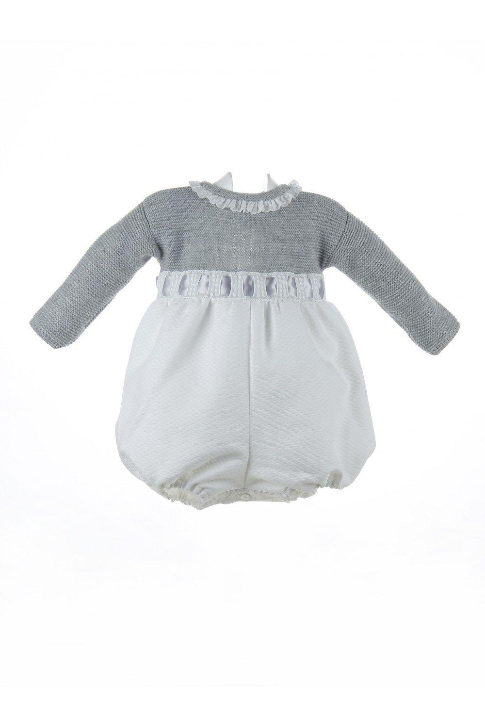 Isabel Maria - Ranita para bebé de lana y piqué - 3 meses, Cuerpo gris y blanco: Amazon.es: Hogar