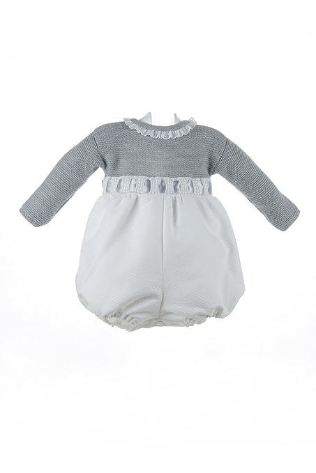 Isabel Maria - Ranita para bebé de lana y piqué - 3 meses, Cuerpo gris