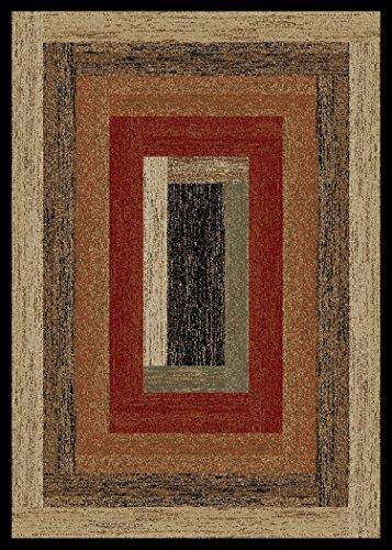 Cheap Rustic Lodge, Panel Area Rug, 94″ W x 118″ L, Multi 3783