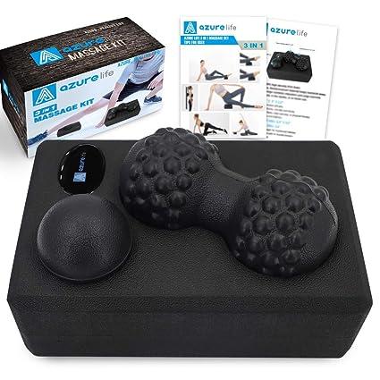 A AZURELIFE High Density EVA Foam Yoga Set, 3 in 1 Massage Kit Includes (Yoga Block, Peanut Ball and Single Massage Ball),The Yoga Massage Kit Perfect ...