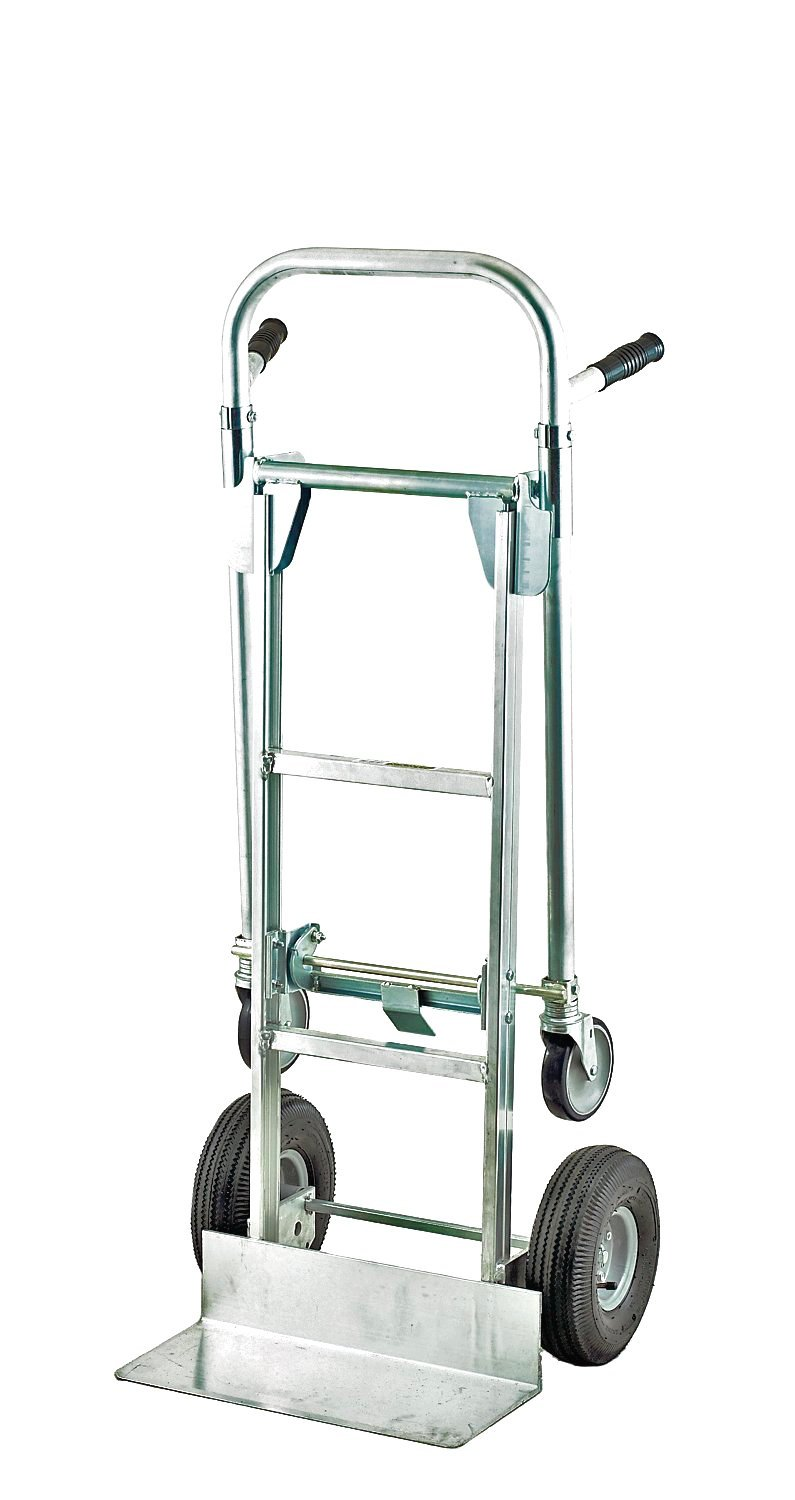 Harper Trucks 850 lb Capacity Aluminum Convertible Hand Truck and Dolly with 10'' Pneumatic Wheels
