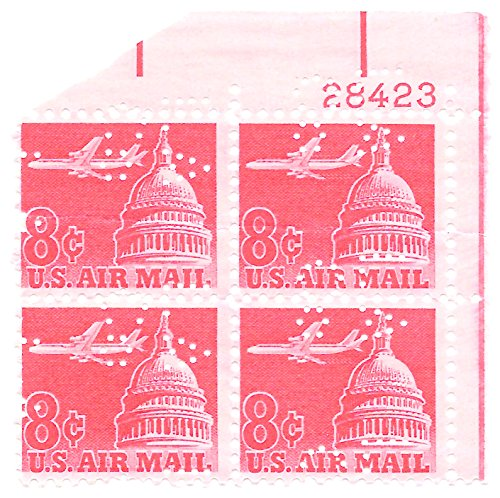 USA 1962 Air Mail Plate Block With Perfins 8 Cents Air Plane Over Capitol
