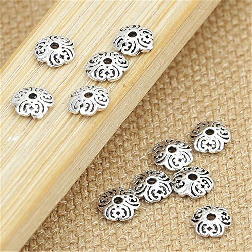 (Luoyi Thai Silver Bead Flower Caps, 5mm, Hole: 3mm (H027T))