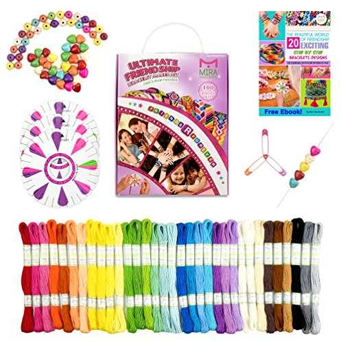 Mira Handcrafts 100 Piece Friendship Bracelets | DIY Starter Kit with 20 Bracelet Patterns E-Book | Kids Jewelry Making Kit | Perfect Bracelet Set