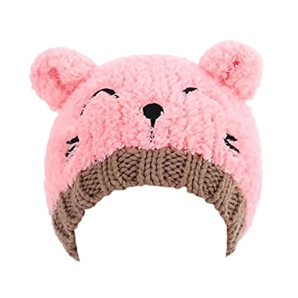 0286b284e6e Buy Baby Fashion Bear Design Infant Winter Warm Hat Crochet Knitted Hat  Beanie Cap(Pink) Online at Low Prices in India - Amazon.in