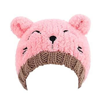 4e4ca2c1bf2b Buy Baby Fashion Bear Design Infant Winter Warm Hat Crochet Knitted Hat  Beanie Cap(Pink) Online at Low Prices in India - Amazon.in