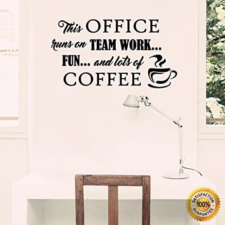 wall decal for office. Ditooms Coffee Wall Decals Office Runs On Team Work Quotes Lettering Vinyl Decal Sticker For