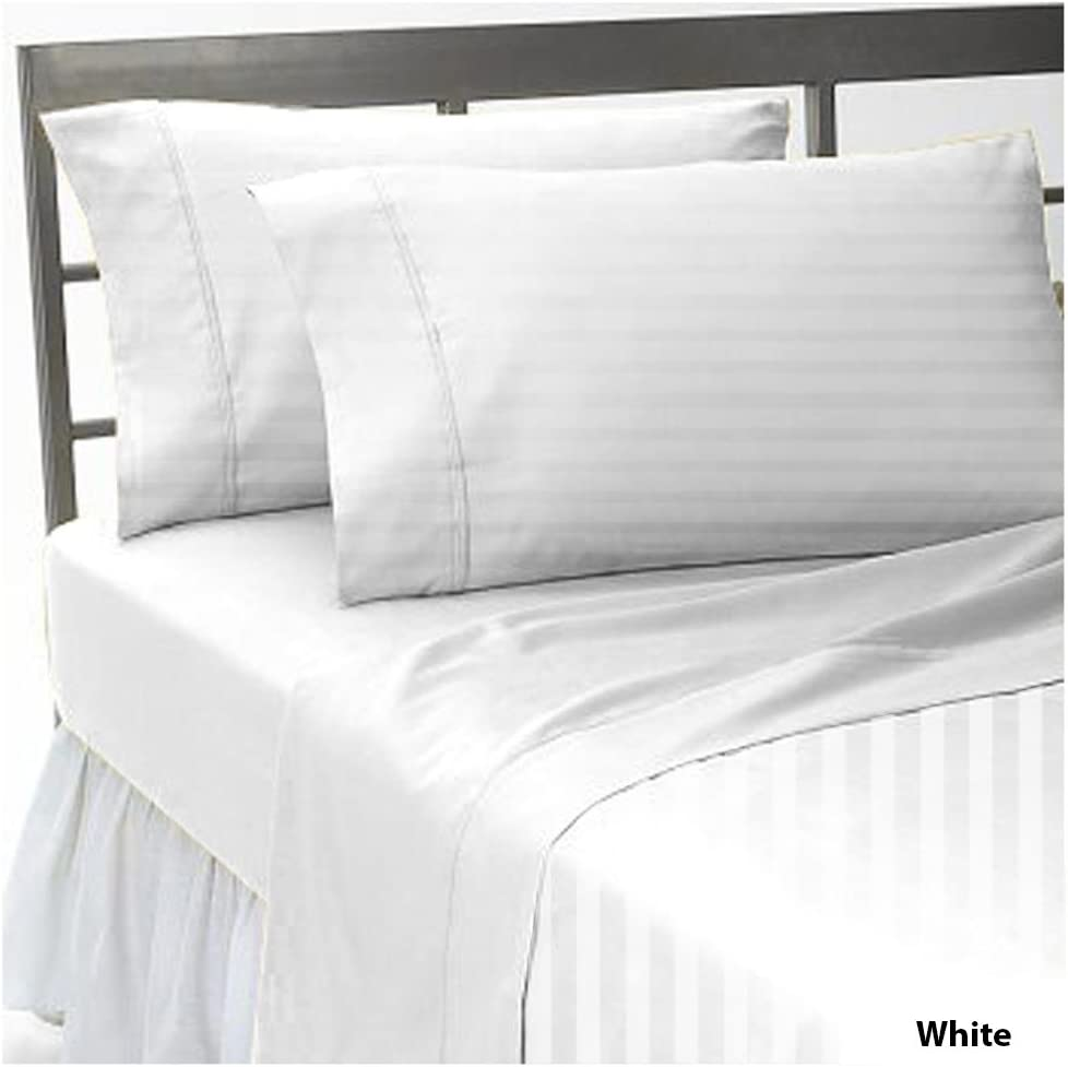 20 Extra Depth Pocket 600 Thread Count Egyptian Cotton Cal-King 1 Piece Fitted Sheet Dark Grey Stripe