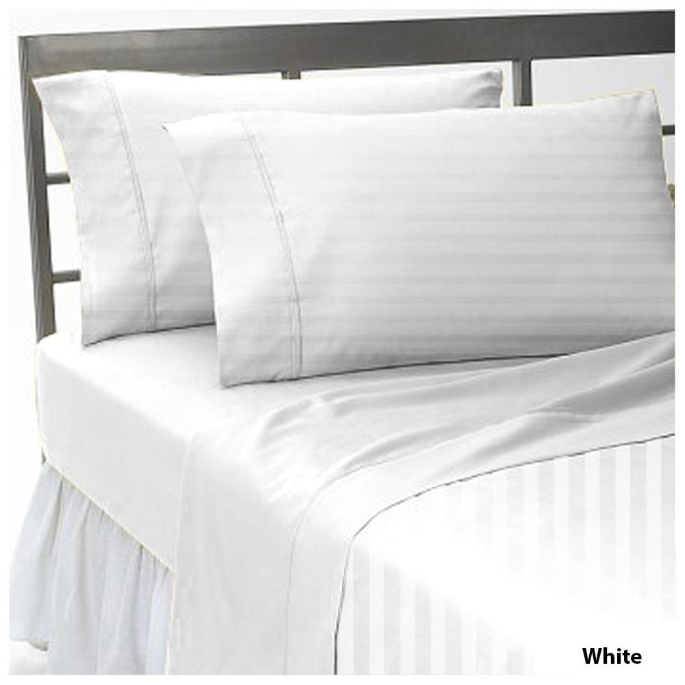 1 PC Flat Sheet 100% Pima Cotton 1000 TC Stripe Pattern Size Twin XXL Color White