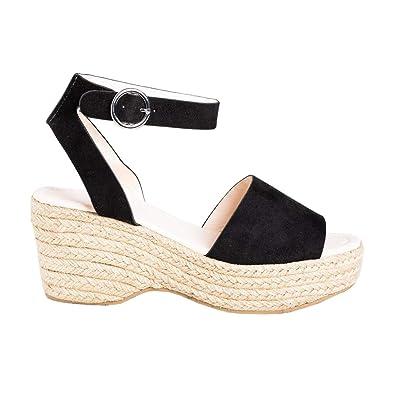 135477056bbcf LAICIGO Women's Chunky Wedge Espadrilles Platform Ankle Buckle Open Toe  Slingback Single Band Summer Sandals