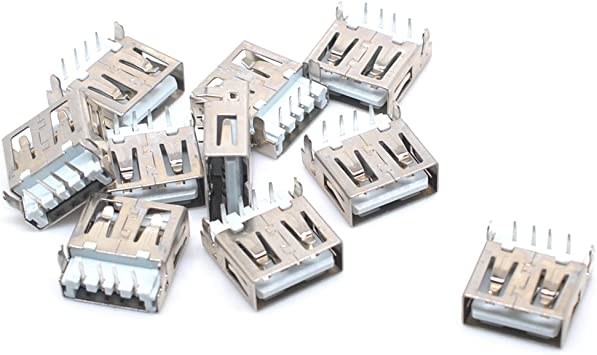 20 Pcs USB 2.0 Female Type A 4Pin DIP Right Angle Jack Socket Connector