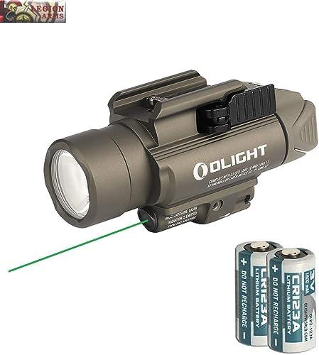 Olight Baldr Pro Green Laser and LED Light Combo, 1350 Lumen CW LED Flashlight, Quick Release Mount, 2 x CR123A Batteries and LegionArms Sticker 1- Desert Tan FDE