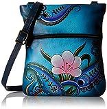 Anuschka Handpainted Leather Slim Cross Shoulder Bag, Denim Paisley/Floral