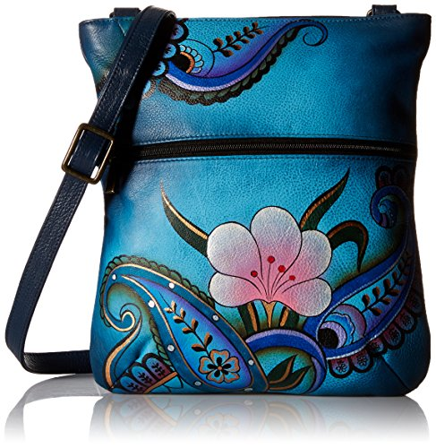Anna Anuschka Slim Crossbody Bag | Genuine Leather | Denim Paisley Floral ()