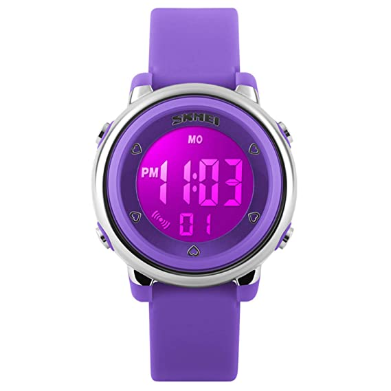 Reloj digital LED infantil, resistente al agua, con alarma luminosa y cronómetro, para deportes de exterior, en color morado: Amazon.es: Relojes