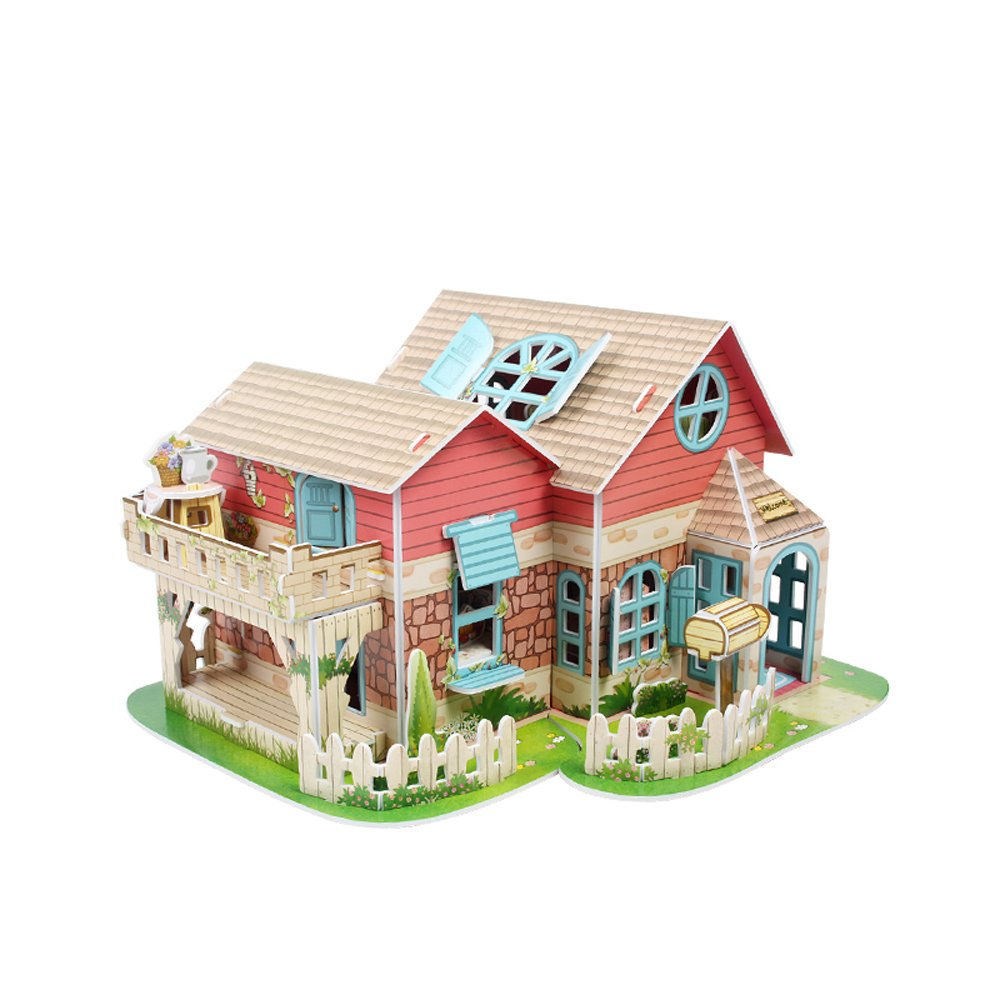 Sweet Villa with LED Light Doll House Collectible Fun Educational 3D Assembly Puzzle Model Toy 84 pieces Primo Tech Inc