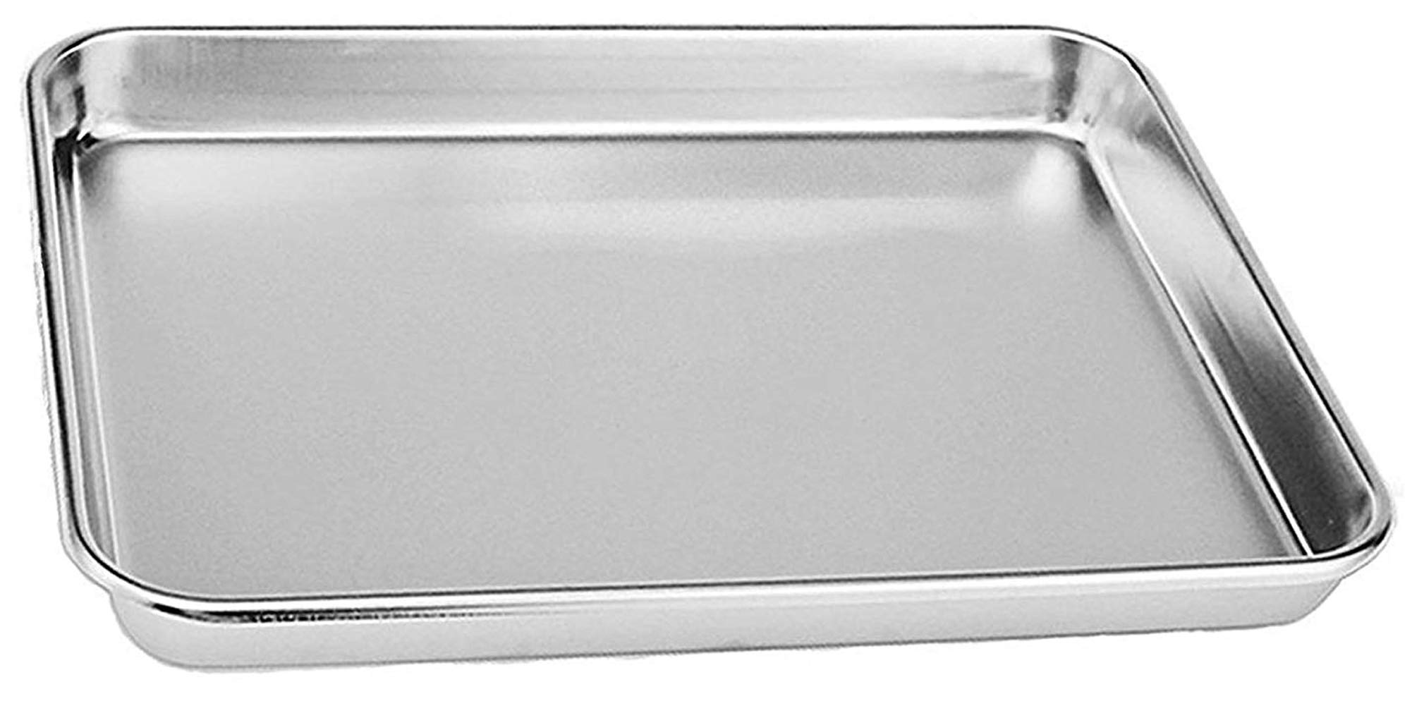Rykey Stainless Steel Toaster Oven Pan Tray Ovenware, Big Size 12'' x 10'' x 1'', Rust Resistant & Healthy, Mirror Finish & Deep Edge, Easy Clean & Dishwasher Safe