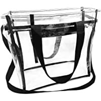 Enkrio Clear Tote Bag Stadium Approved with Handles And Zipper Handbag for Women Clear Bag Purse 11.8inch x 5.5inch x 11…