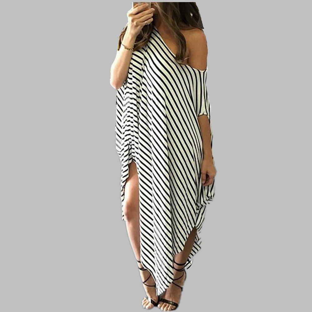 2019 Hot Women Bat-Wing Sleeve Striped Lrregular Dress Casual Loose Round Neck Beach Dresses Under 5 Dollars