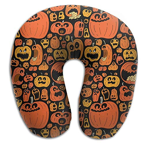 (Multifunctional Neck Pillow Amazing Pumpkin Halloween U-Shaped Soft Pillows Convertible Portable for Reading,Sleeping On Airplanes,Train,Car,and)